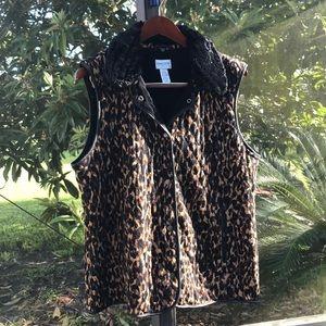 Chico's Travelers  Leopard Faux Fur & Leather Vest